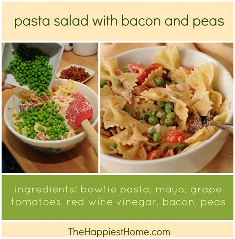 pasta salad with bacon pasta salad with bacon peas grape tomatoes the happiest home