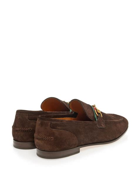 gucci suede loafer lyst gucci horsebit suede loafers in brown for