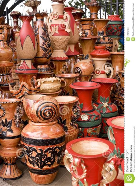 Handmade Pot Painting - beautiful handmade painted clay pots stock image