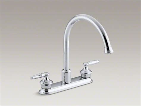 kohler gooseneck kitchen faucet kohler coralais r decorator three kitchen sink faucet with 9 quot gooseneck sp contemporary