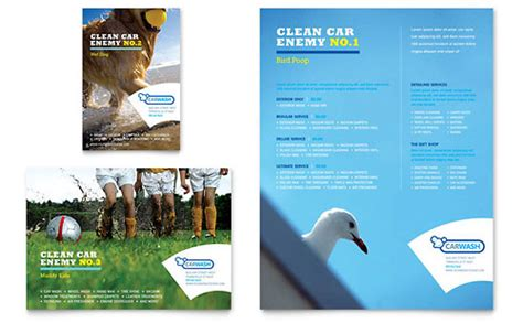 leaflet design for cleaning car cleaning business card letterhead template design