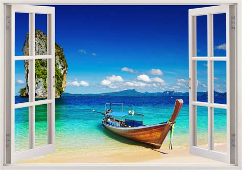 Sailboat Windows Designs Tropical Wall Sticker 3d Window Boat Wall Decal For