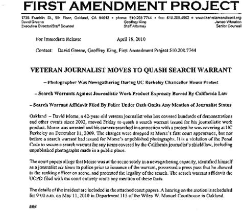 Search Warrants California Indybay Journalist To Quash Ucpd Search Warrant Indybay