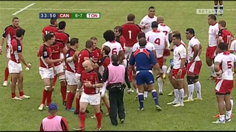 Canada vs Tonga fight leads to red card for Eddie Aholelei