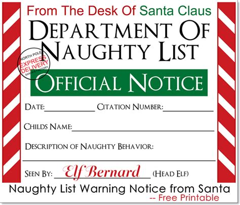 printable letters from santa s elves naughty list warning notice from santa free printable
