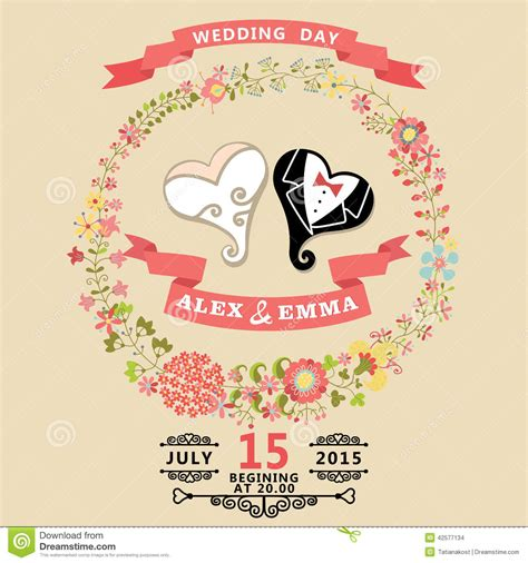 Cute wedding invitation with stylized heart and floral wreath stock vector image 42577134