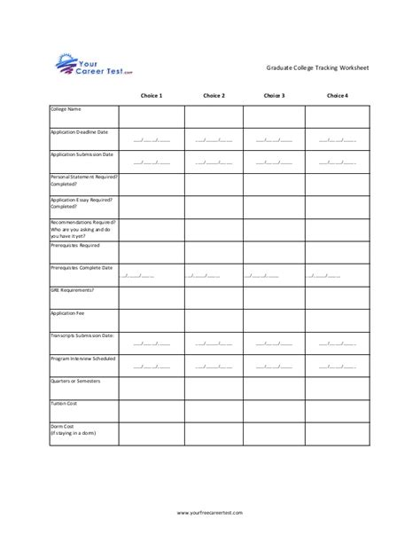 College Worksheets by Graduate College Tracking Worksheet