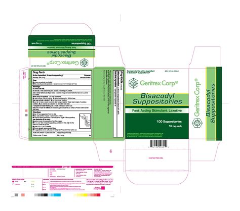 dulcolax after c section bisacodyl geritrex corp 0 01g in 2g suppository