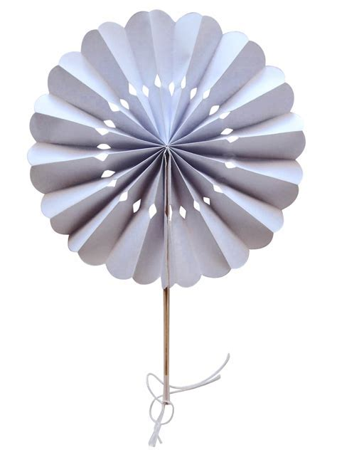 "8"" White Pinwheel Paper Folding Hand Fan for Weddings (10"