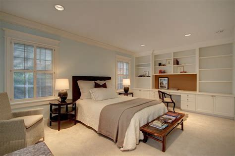 built in desk in bedroom traditional master bedroom with crown molding built in