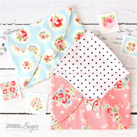 fabric crafts small sewing tutorial pretty fabric envelopes a spoonful of