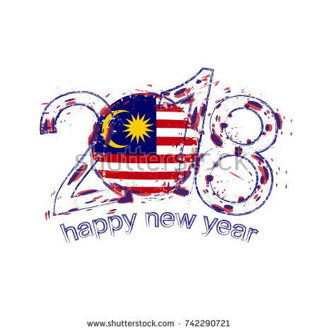 new year 2018 malaysia 2018 happy new year south korea stock vector 745675807