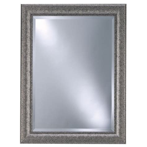 lowes bathroom wall mirrors shop style selections pewter beveled wall mirror at lowes com