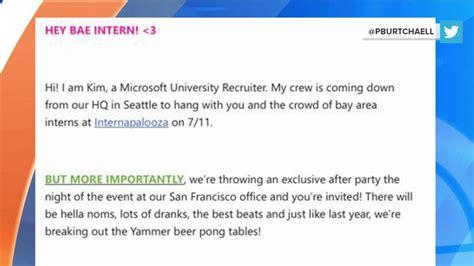 Microsoft Mba Recruiting by Hey Bae Intern Microsoft S Slangy Recruitment Email