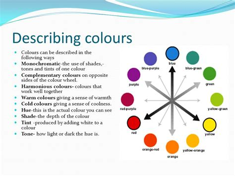 describing colors colour colour is the effect of different light waves being