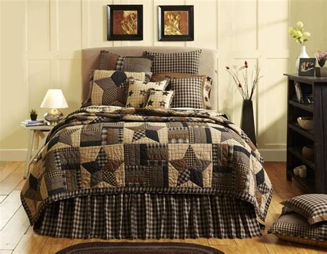 king home decor 7pc bingham primitive country quilt shams pillow cases skirt bed set ebay