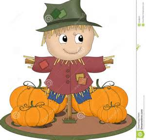 An illustration featuring a scarecrow surrounded by pumpkins