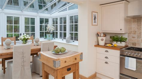 Country Kitchen Diner Ideas by Cream Country Kitchen With Pretty Conservatory Dining Area