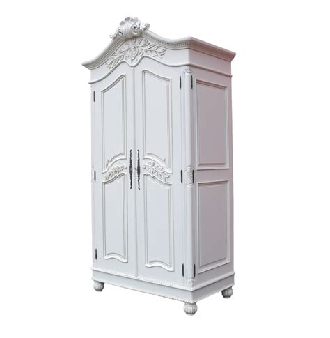 white wardrobe armoire wooden carved french chateau white double armoire