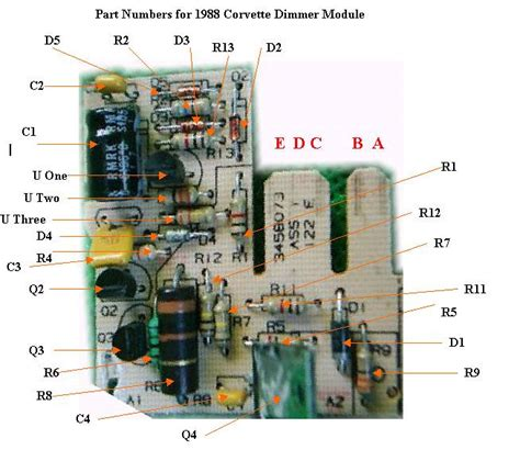 circuit board parts dimmer module corvette