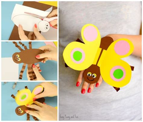 Paper Puppet Crafts - butterfly paper puppet easy peasy and