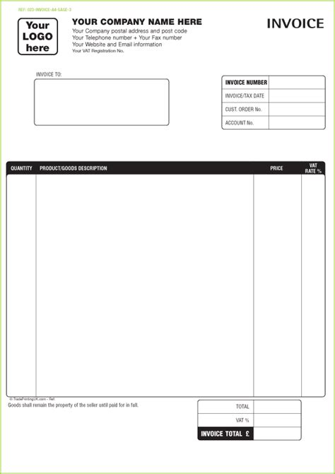 printable invoice template free invoice templates custom printed invoices