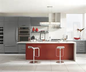Red Kitchen Islands gray cabinets with a red kitchen island omega cabinetry