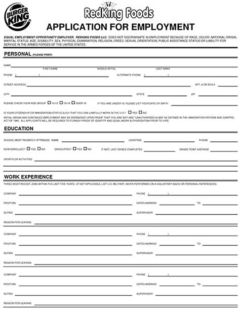 applications cuisine burger king application form sle burger king