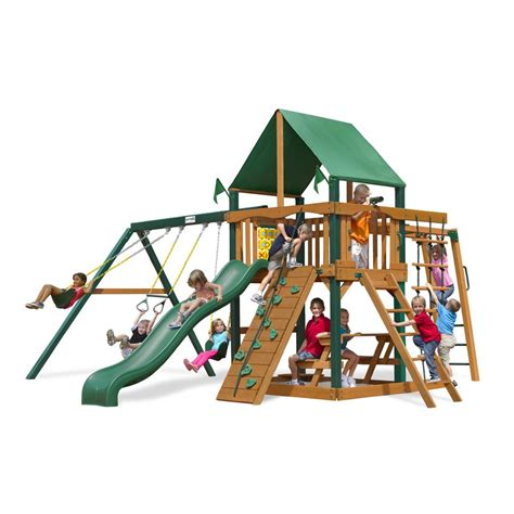 swing set kits lowes shop gorilla playsets navigator residential wood playset