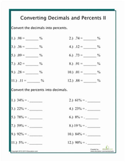 converting decimals to percents worksheets casademateo