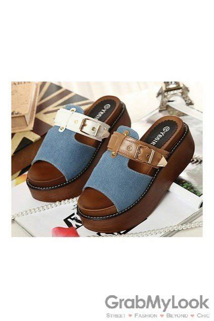 Sandal Denim Carakter shoes sandals denim t platforms sandals