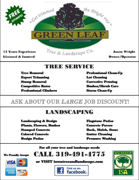 Green Leaf Flyer Completed Tree Service Advertising Template