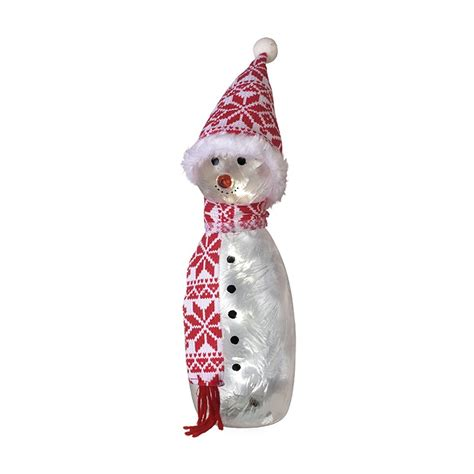 glass light up snowman led christmas decoration ornament