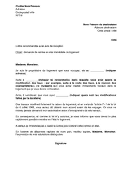 Demande De Logement Lettre Lettre De Demande De Remise En 233 Tat Du Logement Au Locataire Mod 232 Le De Lettre Gratuit Exemple
