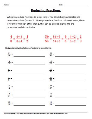 how to reduce fractions video amp worksheets