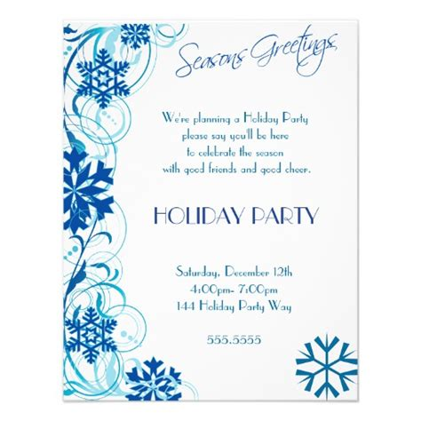 winter invitation template blue snowflake invitations 4 25 quot x 5 5