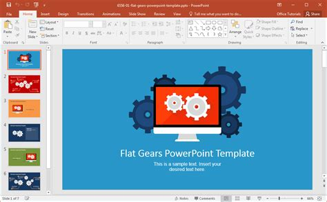powerpoint 2010 design templates modern flat gears powerpoint template