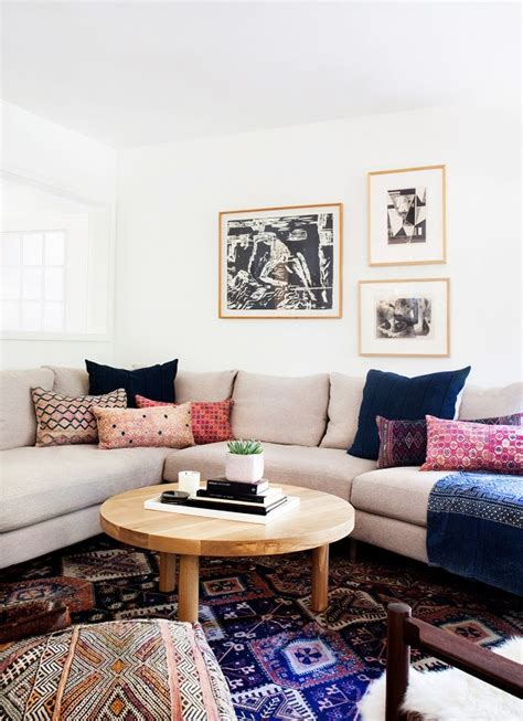 Living Room Colour Patterns A Neutral Sofa Mix With Bold Colour Pattern In The