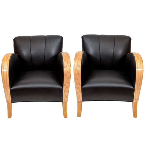 Club Chairs For Sale by Deco Club Chairs In Black Motorcycle Leather For Sale At 1stdibs