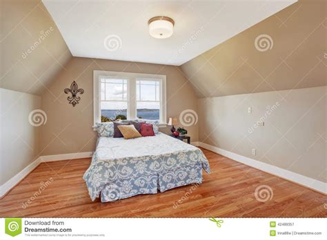 Simple House Designs And Floor Plans Cozy Bedroom Interior With Vaulted Ceiling Stock Image