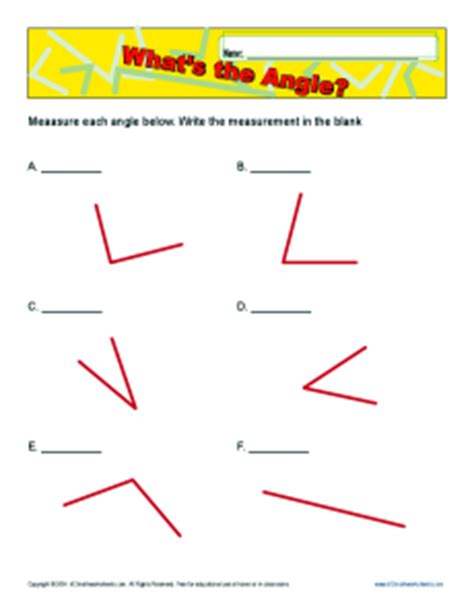 k 12 math worksheets what s the angle 4th grade geometry worksheets