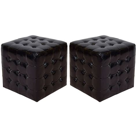 faux leather cube ottoman black wet look faux leather tufted cube ottomans or