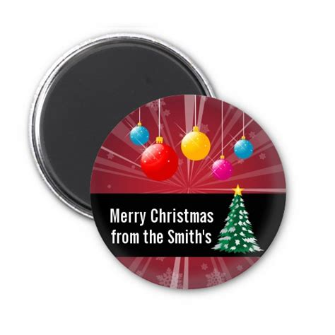 merry and bright personalized christmas magnet favors