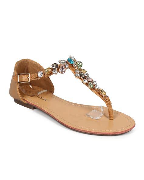 t sandal new liliana maddie 3 leatherette gem cluster t