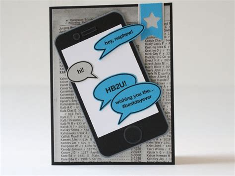 iphone birthday card template phone greeting cards birthday card handmade card nephew