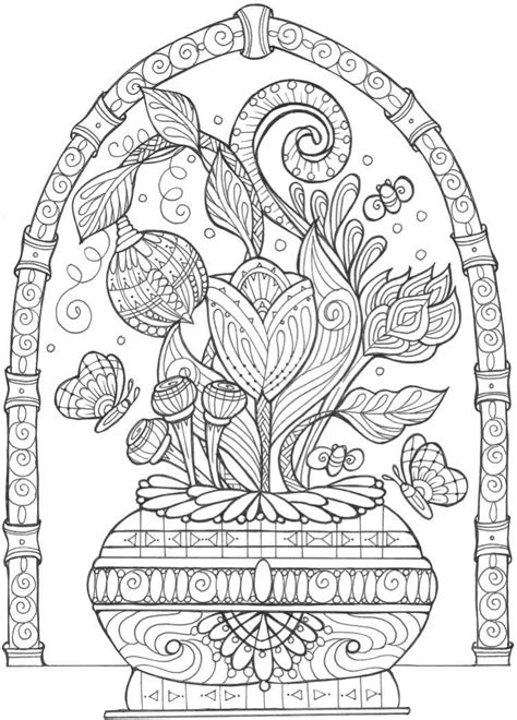 vase  flowers adult coloring page flower coloring
