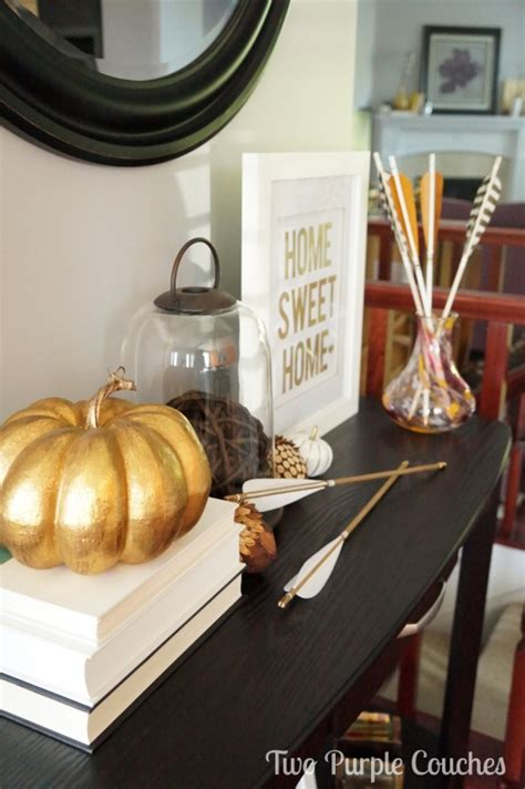 fall entry table decor modern fall entryway decor two purple couches
