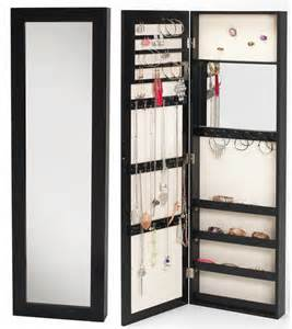 jewelry armoire with mirror black 48 wall mount