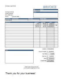 Free Invoice Templates For Excel by Excel In Templates Included Free Invoice Template