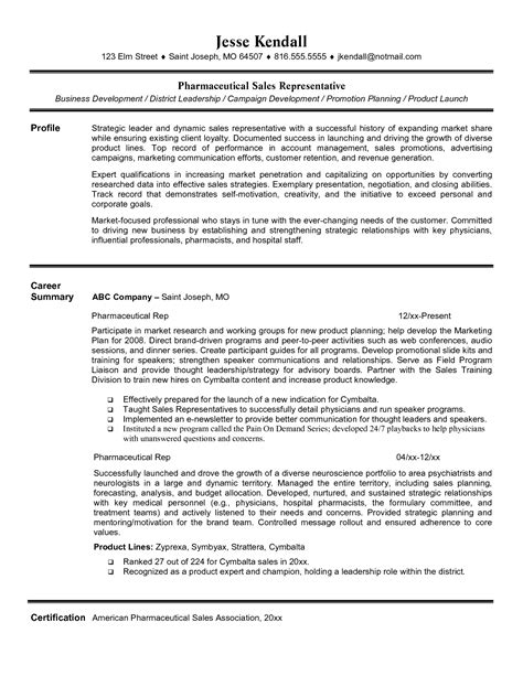 pharmaceutical resume sles entry level sales rep resume